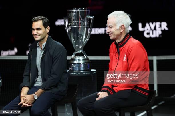 Roger Federer and John McEnroe Team World Captain speak during a live TV interview on CNBC at TD Garden on September 24, 2021 in Boston,...