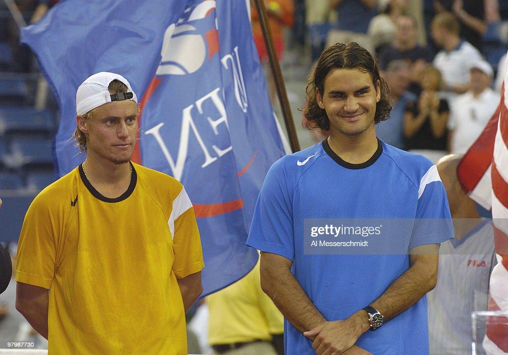 2004 US Open - Men's Singles - Finals - Lleyton Hewitt vs Roger Federer : ニュース写真