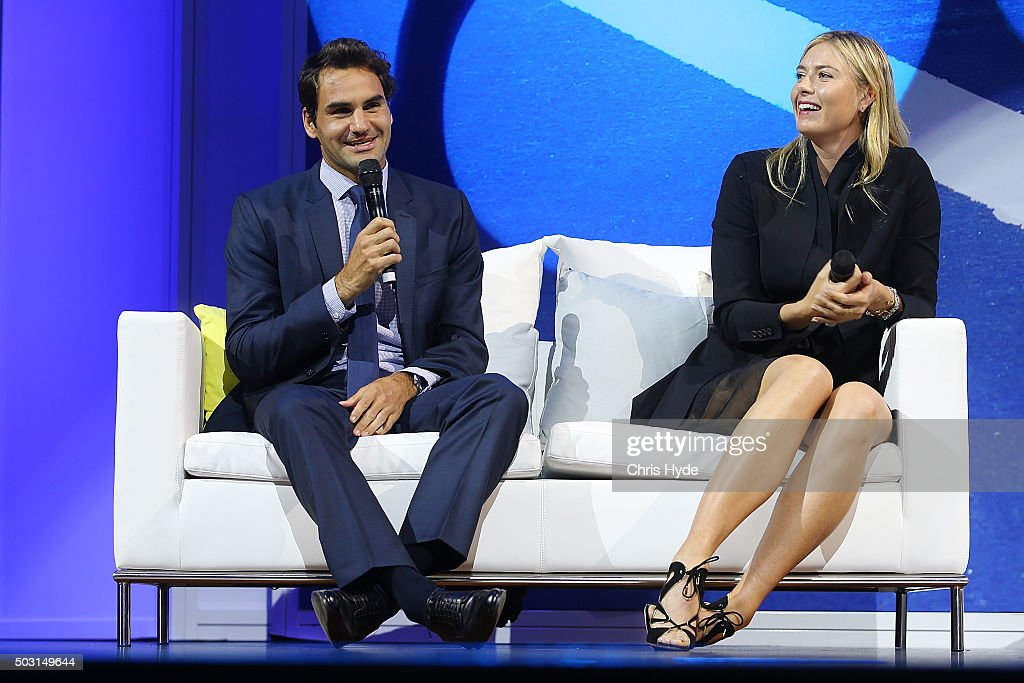 Roger Federer and Maria Sharapova talk onstage during the Summer Nights player party at Brisbane City Hall ahead of the 2016 Brisbane International on January 2, 2016 in Brisbane, Australia.
