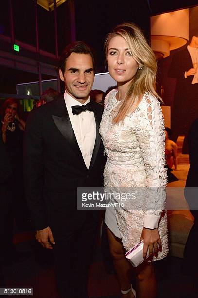 Roger Federer and Maria Sharipova attend the 2016 Vanity Fair Oscar Party Hosted By Graydon Carter at the Wallis Annenberg Center for the Performing...