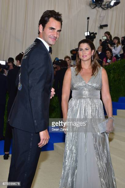 Roger Federer and Mirka Federer arrive at Rei Kawakubo/Comme des Garcons Art Of The InBetween Costume Institute Gala at The Metropolitan Museum on...
