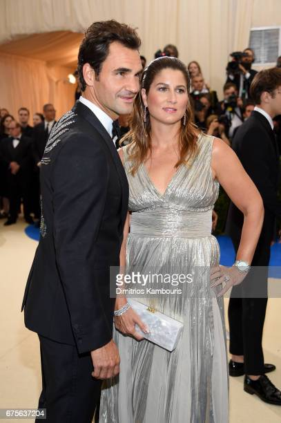Roger Federer and Mirka Federer attend the Rei Kawakubo/Comme des Garcons Art Of The InBetween Costume Institute Gala at Metropolitan Museum of Art...