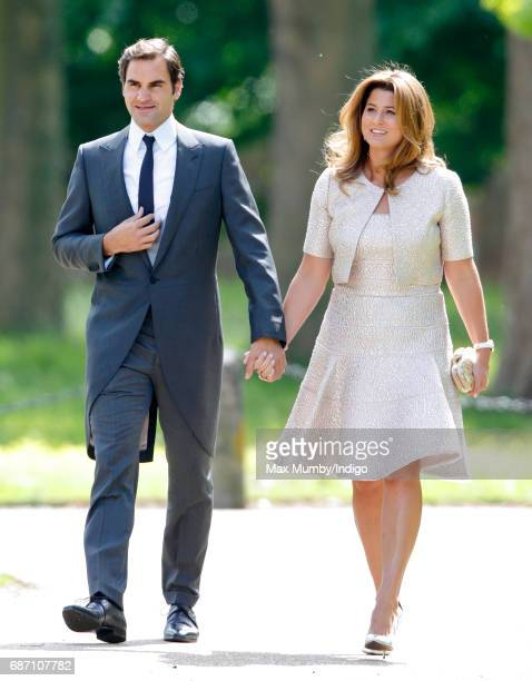 Roger Federer and Mirka Federer attend the wedding of Pippa Middleton and James Matthews at St Mark's Church on May 20 2017 in Englefield Green...