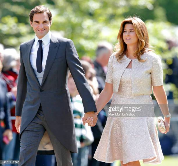 Roger Federer and Mirka Federer attend the wedding of Pippa Middleton and James Matthews at St Mark's Church on May 20, 2017 in Englefield Green,...