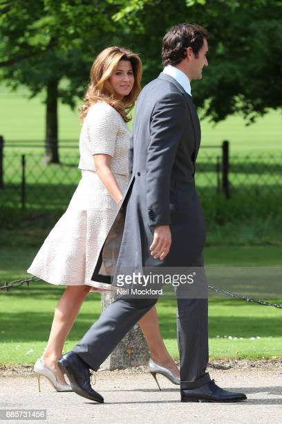 Roger Federer and Mirka Federer seen arriving at St Mark's Church for the Wedding of Pippa Middleton and James Matthews on May 20 2017 in Englefield...