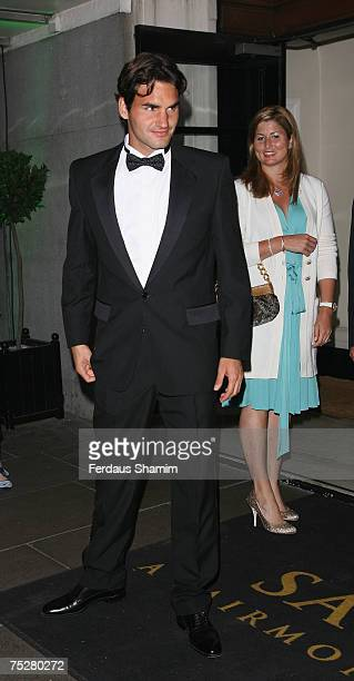 Roger Federer and Mirka Vavrinec arrive for the Wimbledon Champions Ball at the Savoy Hotel on July 8th 2007 in London