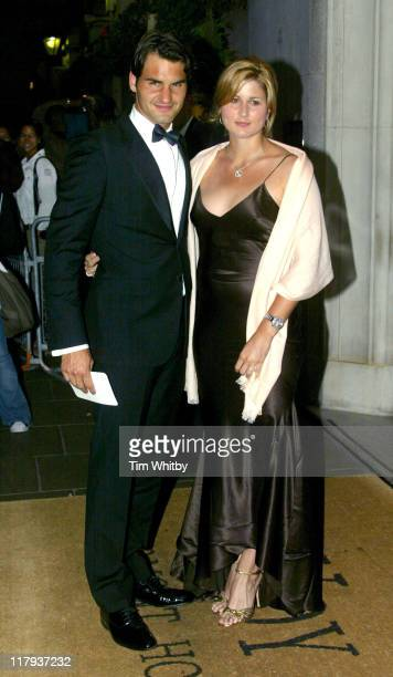 Roger Federer and Mirka Vavrinec during 2005 Wimbledon Championships - Champions Dinner at The Savoy Hotel in London, Great Britain.