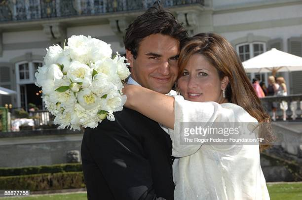 Roger Federer and Mirka Vavrinec embrace after their wedding on April 11 2009 in Basel Switzerland