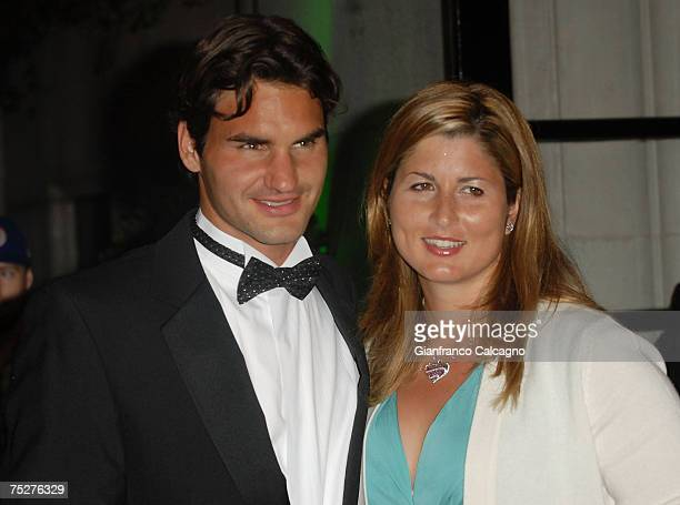 Roger Federer and Miroslava 'Mirka' Vavrinec arrive at Wimbledon Champions Dinner on July 8 2007 in London England