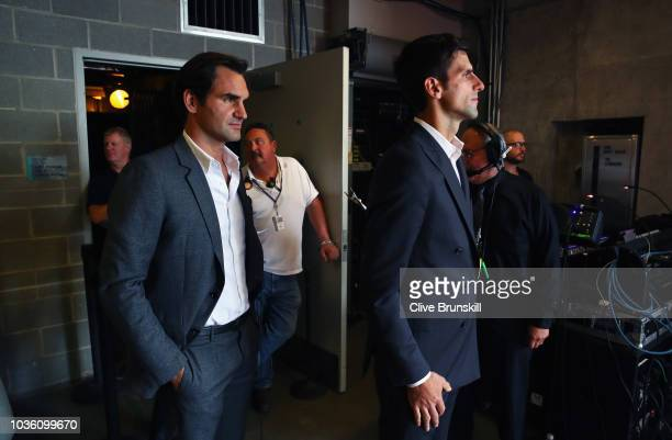 Roger Federer and Novak Djokovic of Team Europe wait backstage to be unveiled at the official welcome ceremony prior to the Laver Cup at the United...