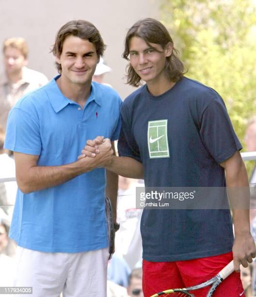 Roger Federer and Rafael Nadal during 2005 French Open Roger Federer and Rafael Nadal Photocall June 2 2005 at Roland Garros in Paris France