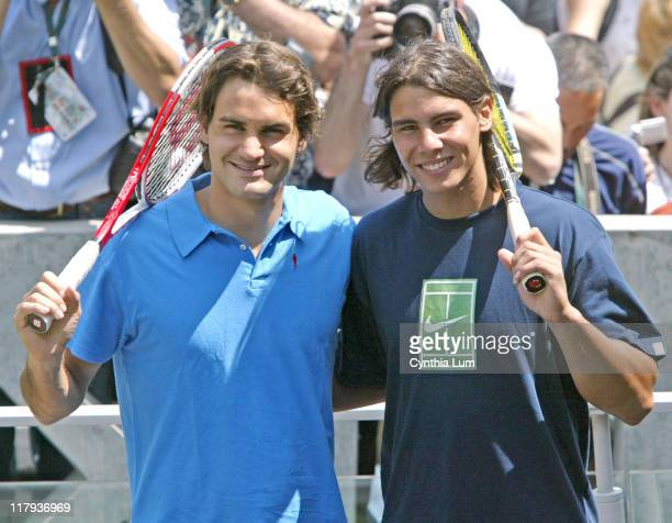 Roger Federer and Rafael Nadal during 2005 French Open Roger Federer and Rafael Nadal Photocall June 2 2005 at Roland Garros in Paris France