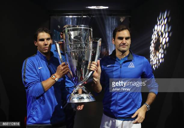 Roger Federer and Rafael Nadal of Team Europe are seen holding the Laver Cup after defeating Team World during the final day of the Laver Cup at the...