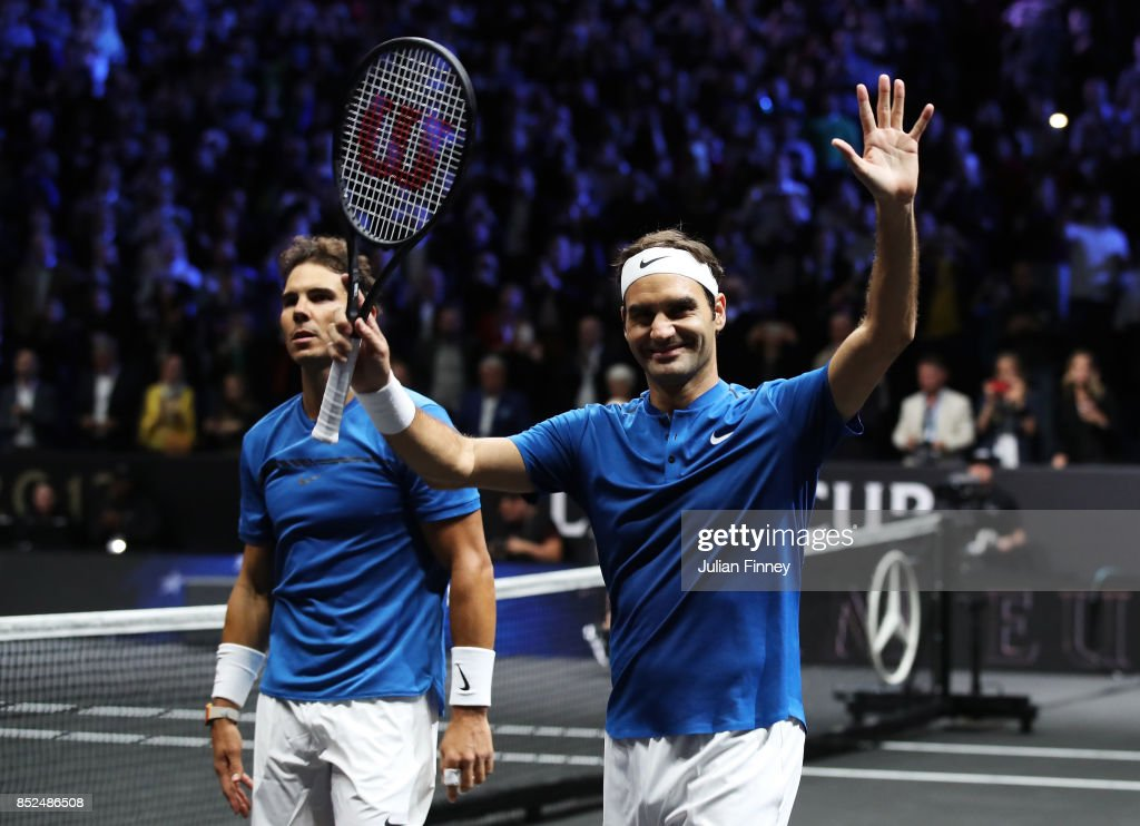 Roger Federer and Rafael Nadal of Team Europe celebrate after winning there doubles match against Jack Sock and Sam Querrey of Team World on Day 2 of the Laver Cup on September 23, 2017 in Prague, Czech Republic. The Laver Cup consists of six European players competing against their counterparts from the rest of the World. Europe will be captained by Bjorn Borg and John McEnroe will captain the Rest of the World team. The event runs from 22-24 September.