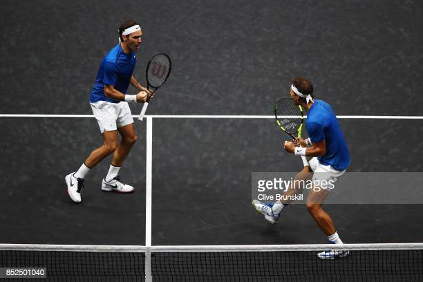 Roger Federer and Rafael Nadal of Team Europe celebrate winning a point during there doubles match against Jack Sock and Sam Querrey of Team World on...
