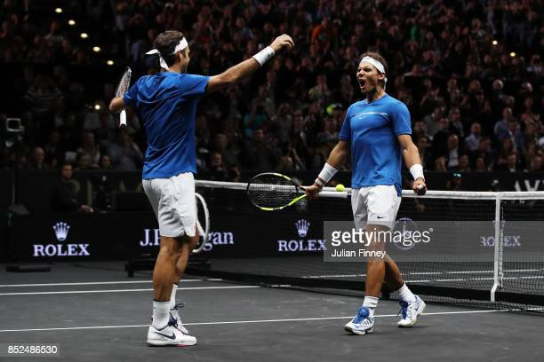 Roger Federer and Rafael Nadal of Team Europe celebrate winning match point during there doubles match against Jack Sock and Sam Querrey of Team...
