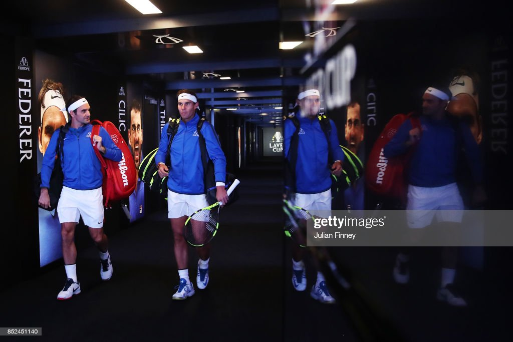 Roger Federer and Rafael Nadal of Team Europe enter the arena for there doubles match against Jack Sock and Sam Querrey of Team World on Day 2 of the Laver Cup on September 23, 2017 in Prague, Czech Republic. The Laver Cup consists of six European players competing against their counterparts from the rest of the World. Europe will be captained by Bjorn Borg and John McEnroe will captain the Rest of the World team. The event runs from 22-24 September.