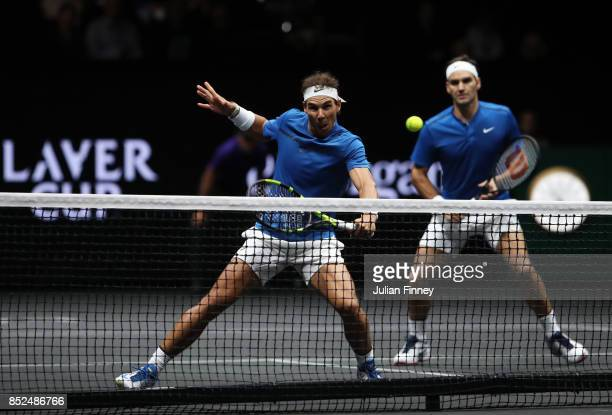 Roger Federer and Rafael Nadal of Team Europe in action during there doubles match against Jack Sock and Sam Querrey of Team World on Day 2 of the...
