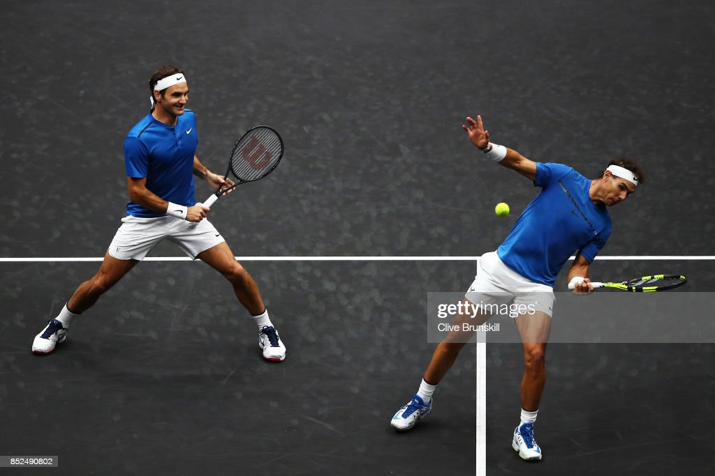 Roger Federer and Rafael Nadal of Team Europe in action during there doubles match against Jack Sock and Sam Querrey of Team World on Day 2 of the Laver Cup on September 23, 2017 in Prague, Czech Republic. The Laver Cup consists of six European players competing against their counterparts from the rest of the World. Europe will be captained by Bjorn Borg and John McEnroe will captain the Rest of the World team. The event runs from 22-24 September.