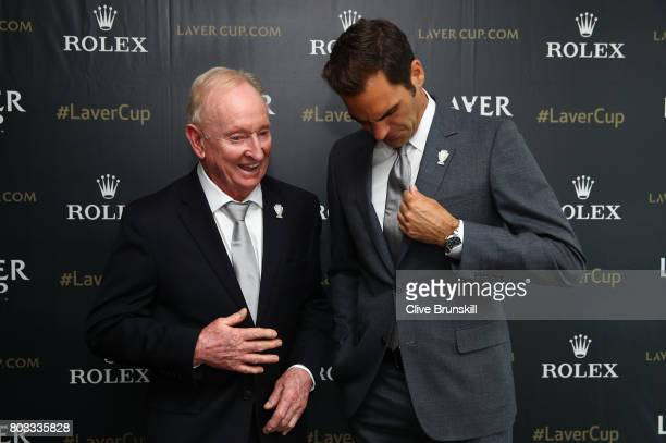 Roger Federer and Rod Laver have fun at the unveiling of the Laver Cup trophy at Cannizaro House on June 29 2017 in Wimbledon England