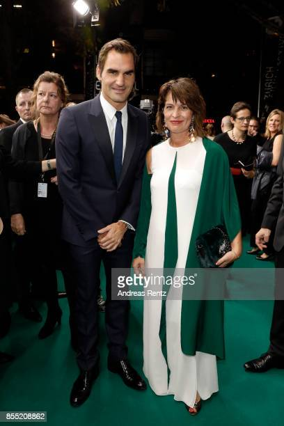 Roger Federer and Swiss Federal President Doris Leuthard attend the opening ceremony and 'Borg vs McEnroe' premiere at the 13th Zurich Film Festival...