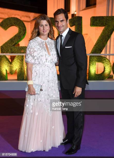 Roger Federer and wife Mirka attend the Wimbledon Winners Dinner at The Guildhall on July 16, 2017 in London, England.