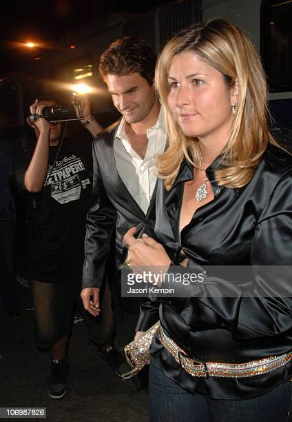 Roger Federer and wife Mirka Vavrinec during Olympus Fashion Week Spring 2007 Marc Jacobs Arrivals at New York State Armory in New York City New York...