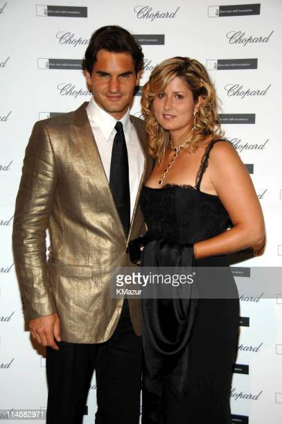 Roger Federer and wife Mirka Vavrinec during The 8th Annual White Tie and Tiara Ball to Benefit the Elton John AIDS Foundation in Association with...