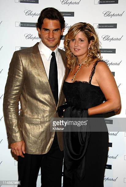Roger Federer and wife, Mirka Vavrinec during The 8th Annual White Tie and Tiara Ball to Benefit the Elton John AIDS Foundation in Association with...