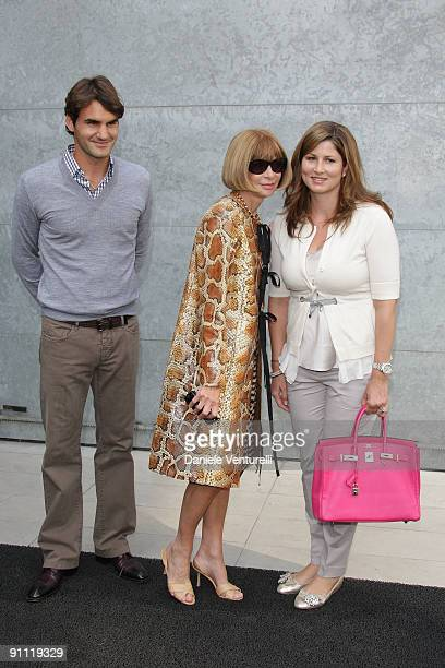 Roger Federer, Anna Wintour and Mirka Federer attend the Giorgio Armani Fashion Show as part of the Milan Womenswear Fashion Week Spring/Summer 2010...