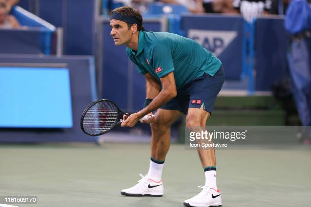 Roger Federer anticipates the serve during the Western Southern Open at Lindner Family Tennis Center on August 13th 2019 in Mason Ohio