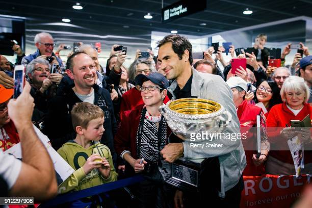 Roger Federer arrives at Airport Kloten with his trophy after winning the 2018 Australian Open Men's Singles Final on January 30 2018 in Zurich...