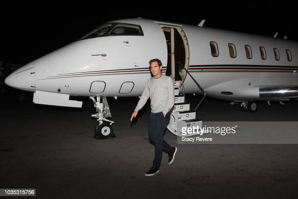 Roger Federer arrives for the Laver Cup 2018 on September 18 2018 in Chicago Illinois
