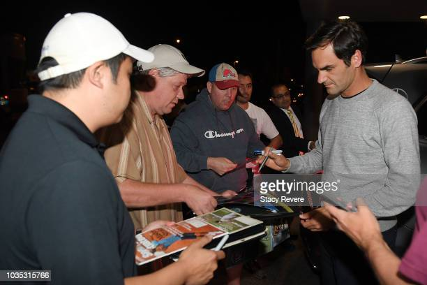 Roger Federer arrives for the Laver Cup 2018 on September 18 2018 in Chicago Illinois