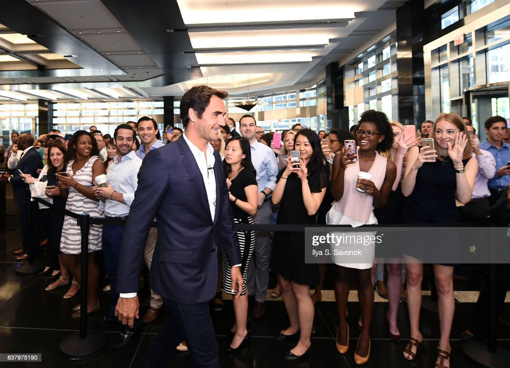 Roger Federer attends Laver Cup Team Announcement on August 23, 2017 in New York City.