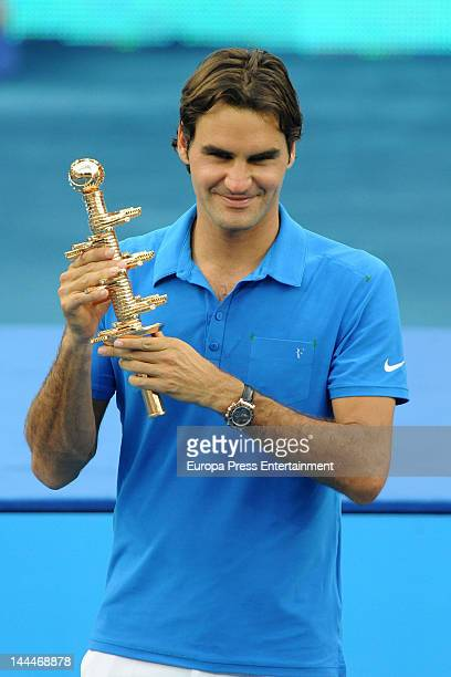 Roger Federer attends Mutua Madrilena Madrid Open on May 13 2012 in Madrid Spain