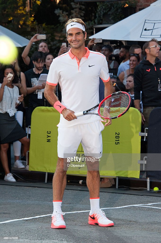 Roger Federer attends Nike's 'NYC Street Tennis' event on August 24, 2015 in New York City.