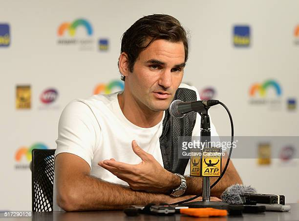 Roger Federer attends the Miami Open Celebrity Sightings at Crandon Park Tennis Center on March 24 2016 in Key Biscayne Florida