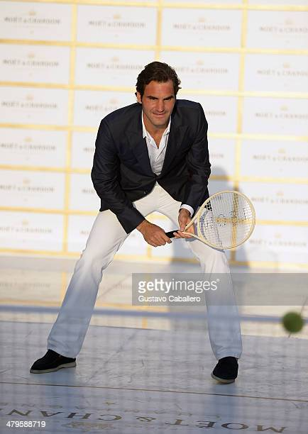 Roger Federer attends the Moet Chandon 'Tiny Tennis' With Roger Federer at Club 50 at Viceroy Miami on March 19 2014 in Miami Florida