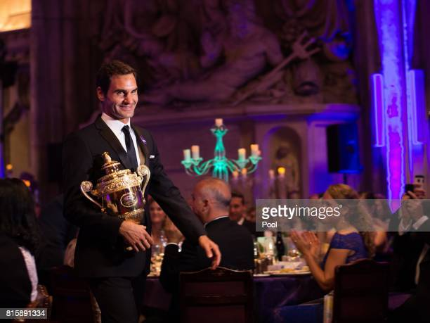 Roger Federer attends the Wimbledon Winners Dinner at The Guildhall on July 16 2017 in London England