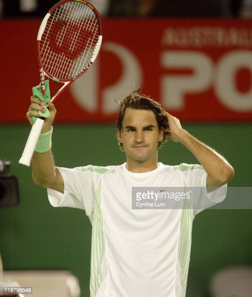 Roger Federer celebrates after scraping through. Roger Federer defeats Tommy Haas 6-4, 6-0, 3-6, 4-6, 6-2 in the Fourth Round at the Australian Open,...