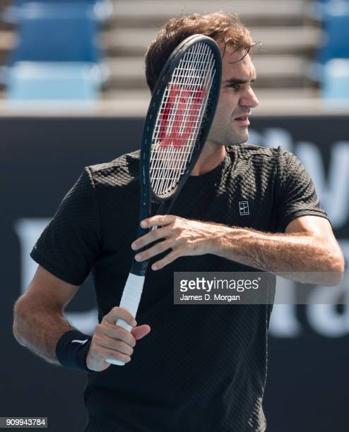 Roger Federer during a practice session on day 11 of the 2018 Australian Open at Melbourne Park on January 25 2018 in Melbourne Australia Roger...