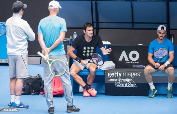 Roger Federer during a practice session on Rod Laver Arena ahead of the 2018 Australian Open at Melbourne Park on January 14 2018 in Melbourne...
