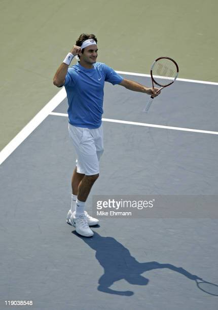 Roger Federer during a quarterfinal match against Nikolay Davydenko at the 2006 US Open at the USTA Billie Jean King National Tennis Center in...