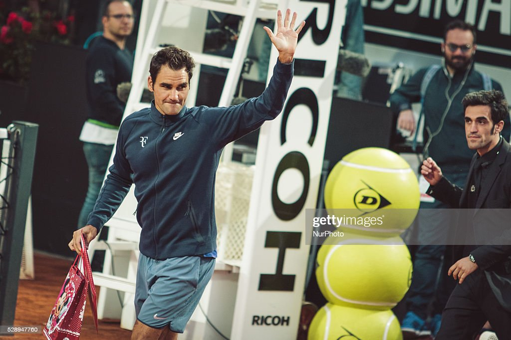 Roger Federer during a training session on Centre Court of Tournament ATP in Rome, Italy 7th May 2016