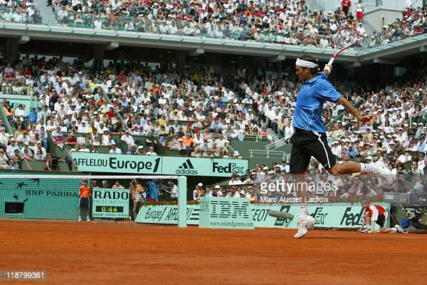 Roger Federer during his fourth round match against Thomas Berdych at the 2006 French Open at Roland Garros Stadium in Paris France on June 4 2006...