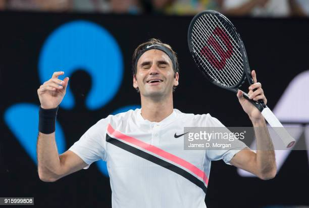 Roger Federer during his victory against Marin Cilic in the mens singles final on January 28 2018 in Melbourne Australia Winning his 20th grand slam...