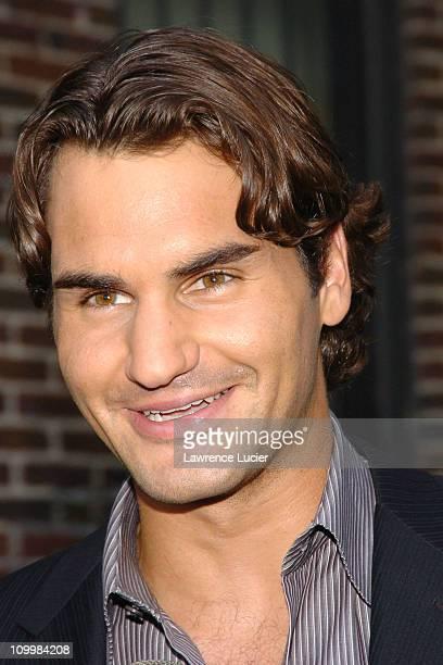 Roger Federer during U.S. Open Champion Roger Federer Appears Outside Late Show with David Letterman - September 12, 2005 at Ed Sullivan Theater in...