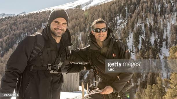 """Roger Federer"""" Episode 401 -- Pictured: Roger Federer, Bear Grylls --"""