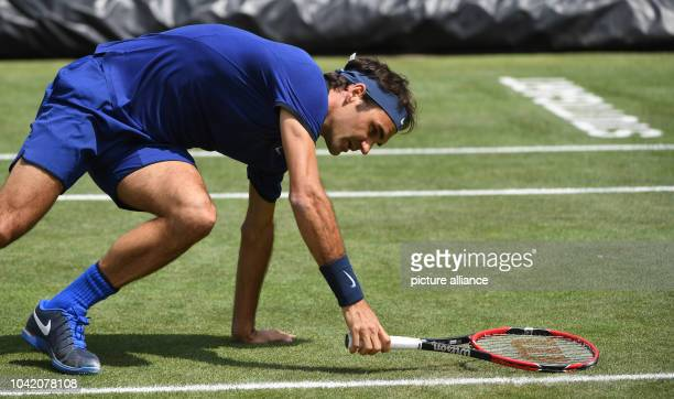 Roger Federer from Switzerland in action against Mayer from Germany during the quarterfinals of the ATP tournament at Weissenhof in Stuttgart Germany...